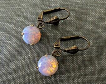 Pink Opal Earrings Fire Opal Dangle Earrings Harlequin Opal Tiny Dangle Earrings Elegant Modern Chic Small Dangling Round Earrings C1
