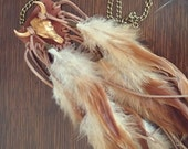 Bison skull leather and feather necklace, fringe feather necklace