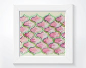 Abstract painting - Red Onion Cell pattern - Mixed Media Art - Original  Watercolour -