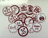 "Printed Precut Texas A&M inspired 1"" images for bottlecaps, crafts, scrapbooking etc.."