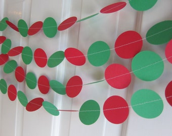Christmas Garland, Red and Green Paper Garland, Paper Garland, Holiday Garland, Christmas Baby Shower, Christmas Wedding, Christmas Baby