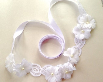 Headband Girls White Lace & Floral Wreath - Child's Headband - Weddings - Flower Girl Headpiece - Princess Hair Accessory