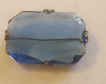 Vintage Art Deco Blue Glass Crystal Pin