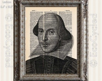Shakespeare Portrait on Vintage Upcycled Dictionary Art Print Book Art Print Recycled Quote Typography book lover gift book lover art