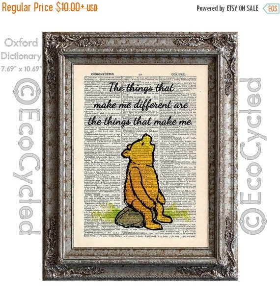 SALE Winnie The Pooh Quote 15 Things That Make Me By EcoCycled