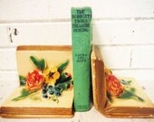 Vintage chalkware bookends floral book shaped mid century cottage decor library chalk ware