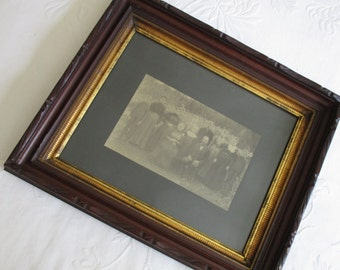 Silent Cal couldn't get a word in edgewise ~ Coolidge relations in a country tramp art mahogany frame