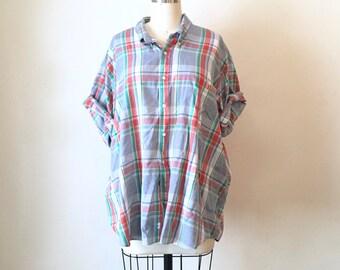 SALE Vintage Plaid Soft Short Sleeve Button Down