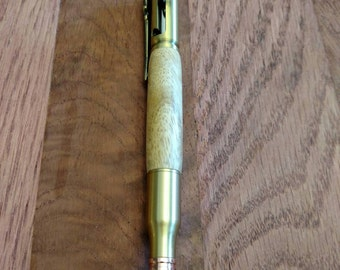 Amboyna bolt action bullet Pen (antique brass)