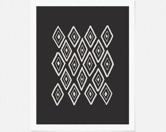 Pen and Ink Drawing - Geometric Diamond Print - Abstract Wall Art - Charcoal Artwork - 5x7, 8x10, 11x14 Wall Decor
