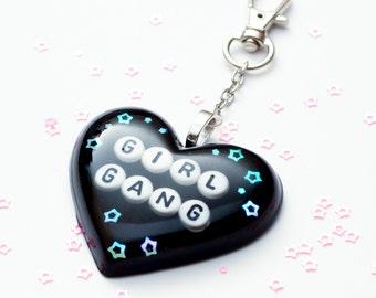 "Sassy heart keychain ""Girl Gang"" - black keyring, black heart, heart keychain, feminist keychain, girl gang"