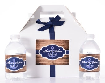 Nautical Wedding Favors - 25 Wedding Favor Box / Welcome Box Labels Gable Wedding Box Set with 50 Water Bottle Labels