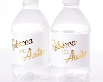 30 gold foil wedding water bottle labels silver or gold metallic water bottle labels