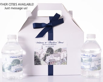 25 Mackinac Island Sketched Skyline Wedding Favor Box / Wedding Welcome Boxes with 50 matching Water Bottle Labels