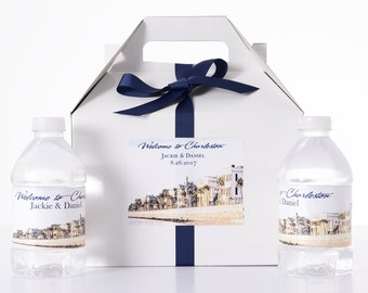 Charleston SC Destination Wedding - 35 Sketched Skyline Wedding Favor Box / Wedding Welcome Boxes with 70 matching Water Bottle Labels