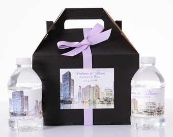 Miami Destination Wedding - 25 Sketched Skyline Wedding Favor Box / Wedding Welcome Boxes with 50 matching Water Bottle Labels