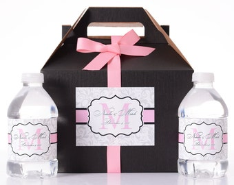 25 Wedding Favor Box / Welcome Box Labels Gable Wedding Box Set with 50 Water Bottle Labels