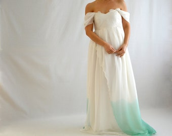 Ombre wedding dress, Maternity wedding dress, Dip dyed wedding dress, Empire wedding dress, Romantic wedding dress, Fairy wedding dress,