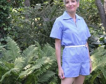 Blue Gingham Romper. Shorts Shirt Combo.  Resort Wear.  Size Small Medium VTB33