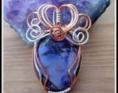 Purple Sea Sediment Jasper Pendant with Pyrite, wire-wrapped in Silver and Copper, with chain
