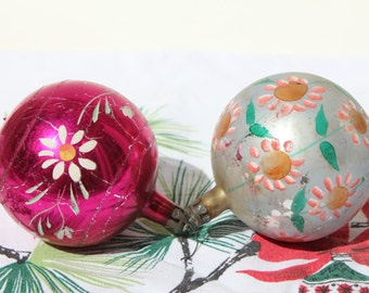 Set of 2 Large Mid Century 1950s Glass Christmas Tree Ornaments w/ Hand-Painted Flowers - Pink and Silver - Retro - Mod - Made in POLAND