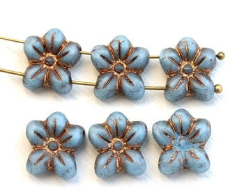 Two Hole flower beads, Blue czech glass Five petal flower, Old Patina Inlays, 2 hole - 6pc - 14mm - 1117