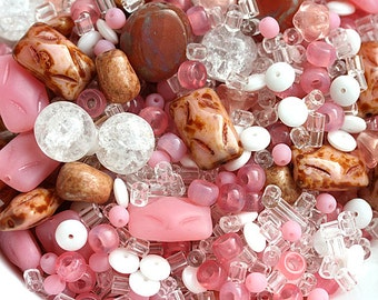 Pink beads mix, Bead soup, czech glass beads, pink and white beads, different shapes - 25gr - 0088