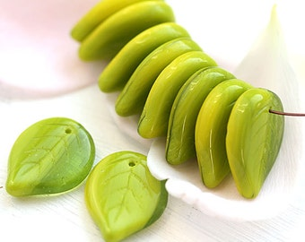 Large leaf beads, Yellow Green leaves, czech glass beads, big size leaf, flat, pressed beads - 18mm - 10Pc - 2273