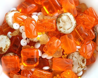 Orange beads mix, Bead soup, czech glass beads, orange beads, different shapes - 15gr - 1513