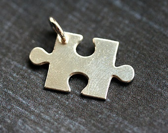 Silver puzzle charm, Sterling silver puzzle piece, puzzle pendant, 925 silver - 19mm - 1pc - F372