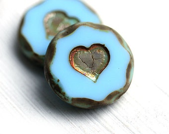 2pc Large Heart beads, Turquoise Blue hearts, 21mm picasso beads, czech glass heart, table cut - 2402