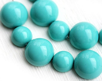 Turquoise beads mix, czech glass Dome beads, round, chunky, half sphere - 10pc - 2413