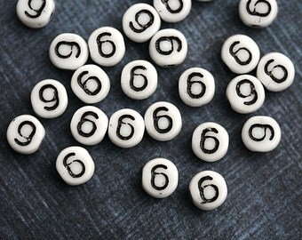 6 Number beads, white czech glass beads with black inlays, number 6 bead, symbol, 6mm - 25pc - 2468