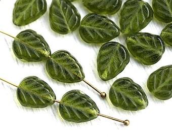 Olivine leaf beads, Olive green leaves, Czech glass beads, pressed glass leaf - 11x9mm - 25Pc - 2570