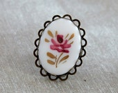 Pink Flower Ring .. flower cameo ring, white pink ring, cottage chic ring