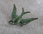 Swallow Brooch .. verdigris brooch, bird pin, bird brooch, green brooch, patina, soaring bird, vintage style brooch