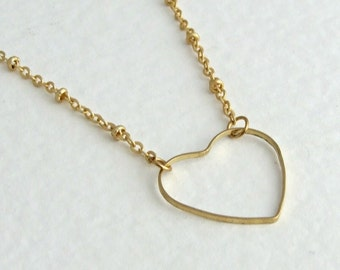 Heart Necklace .. brass necklace, cut away heart, minimalist necklace