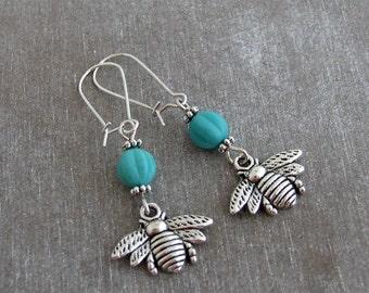 Silver Bee Earrings .. bee earrings, bumble bee, turquoise, bee jewellery