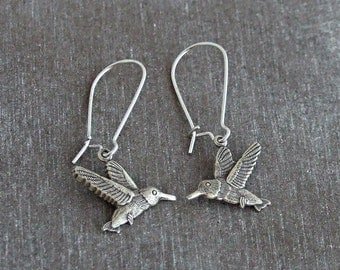 Hummingbird Earrings .. silver bird earrings, bird earrings, silver earrings, hummingbird jewellery