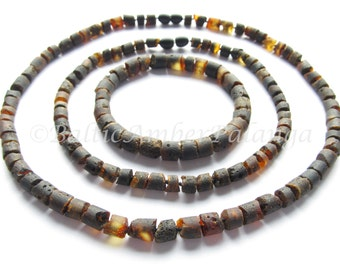 Raw Unpolished Baltic Amber Set For Baby and Mommy/Daddy Black Color Tube Shape Beads