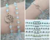Ohm bracelet, Gemstone Bracelet, Om bracelet. Rosary bracelet, gold bracelet, Yoga bracelet, Aum bracelet, buddhist bracelet, Reiki bracelet