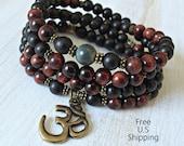 108 Red Tiger eye, blue Tiger eye, wood mala, Necklace or wrap bracelet, Reiki Charged, Tiger eye bracelet, buddhist rosary. Yoga bracelet
