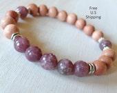 Rosewood, Lepidolite bracelet, Yoga Bracelet, intention, Meditation bracelet, Reiki, mala, Lepidlite , mala beads, tribal, gemstone bracelet