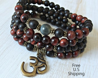 108 Red Tiger eye, blue Tiger eye, wood mala, Necklace or wrap bracelet, Reiki Charged, Tiger eye bracelet, buddhist rosary. Yoga bracelet