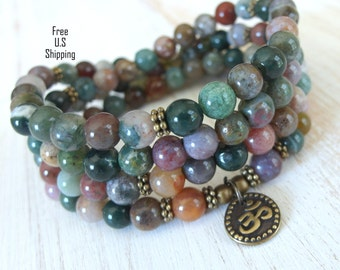 well-being, 108 Fancy Jasper & Om Mala Bracelet or Necklace, Reiki charged, Buddhist Rosary, Pr0ayer beads, Gemstone mala, Om mala, wrap