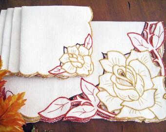 Vintage Linen Table Topper Napkin Set, Embroidered Cutwork Roses