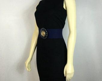 Vintage Belt 80s Stretch Navy Blue & Gold Buckle Belt Deadstock NWT medium to large