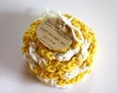 SHOP CLOSING SALE Flower Face Scrubby Set . Set of 3 . Crochet . 100 Percent Cotton . Yellow & White