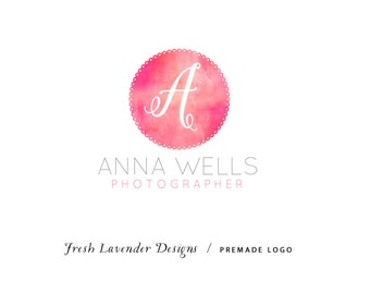 Custom Logo Design personalized Premade Logo and Watermark for Photographers and Small Businesses Watercolor Monogram Classic Logo Vintage