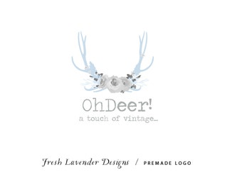 Custom Logo and Watermark Personalized Premade Logo for Photographers and Small Crafty Boutiques Hand Drawn Antler with Flowers Whimsical